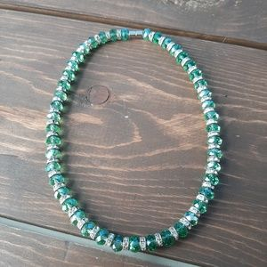 Jewelry - Emerald Stone and White Diamond Necklace